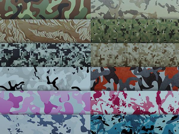 12 Tarnmuster (Vinyl Wrap) Wüste, Dschungel, Schnee, Navy, Urban Pixelated, Pink